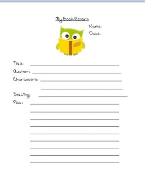Owl Themed Book Report Template for Word