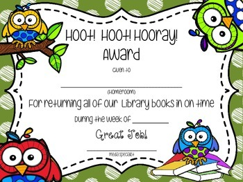 Owl Themed Book Return Reward Bulletin Board Set