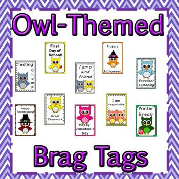 Owl Themed Brag Tags