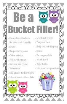 Owl Themed Bucket Filler Poster