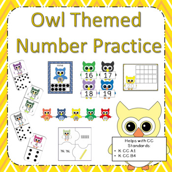 Owl Themed Bundle: Number Posters 0-30, Play Dough Mats, and Number Puzzles