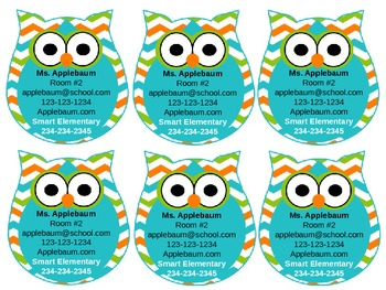 Owl Themed Business Cards {Editable}