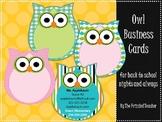 Owl Themed Business Cards {Editable}