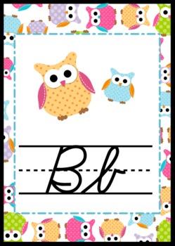 Owl Themed CURSIVE Alphabet Posters