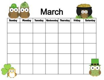 Owl Themed 12 Month Calendar