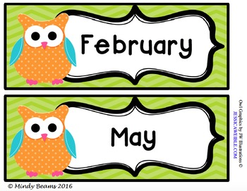 Owl Calendar Month Cards - Two Options