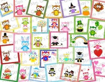 Owl-Themed Calendar Cards - ALL TWELVE MONTHs