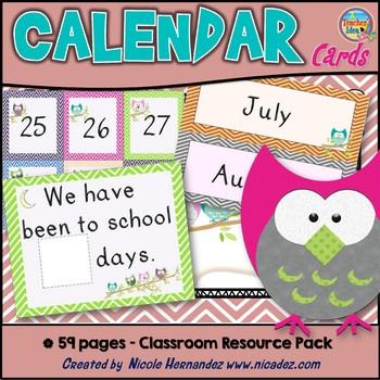 Calendar Cards - Owl and Chevron Themed