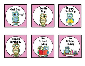 Owl (Reading Owl) Themed Classroom Decor:   Calendar Headers