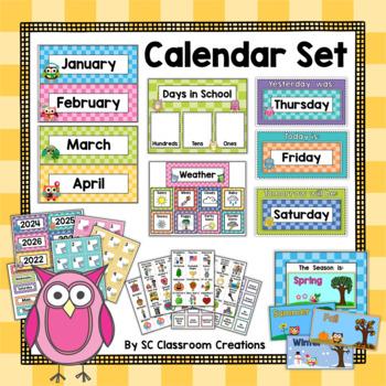 Owl Themed Calendar Set-Classroom Decor