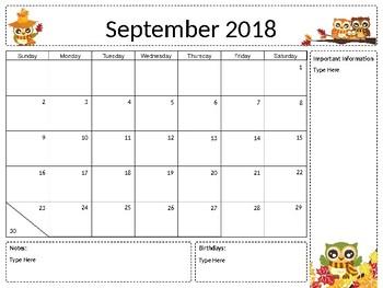 Owl Themed Monthly Calendars | Editable | 2017-2018 Academic Year