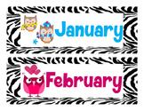 Jubilee's Junction - Class Calendar Headers * Zebra Owl Theme *
