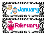 Jubilee's Junction - Class Calendar Headers * Zebra Owl Theme *