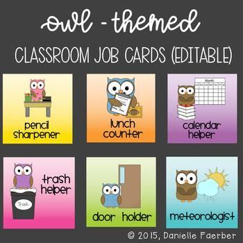 Owl-Themed Class Job Cards - Editable