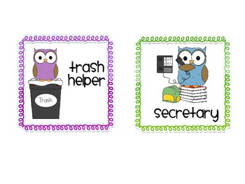 Owl-Themed Class Job Cards Freebie