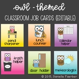 Owl-Themed Class Job Cards - Editable