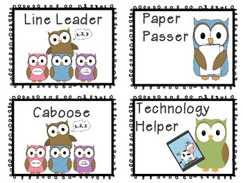 Owl Themed Class Jobs for Primary *36 jobs PLUS written out descriptions