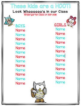 Owl Themed Class List
