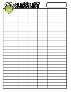 FREEBIE: Owl Themed Class List for 25 Students Sample