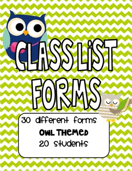 Owl Themed Class Lists for 20 Students