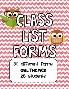 Owl Themed Class Lists for 30 Students