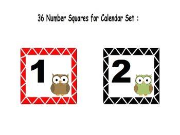 Owl Themed Classroom Calendar Set :
