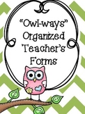 Editable Owl Themed Classroom Forms