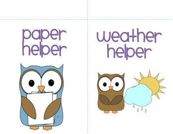Owl Themed Classroom Helpers