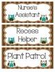 Owl Themed Classroom Job Cards