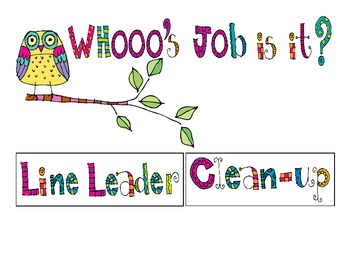Owl-Themed Classroom Job Chart