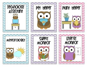 Owl Themed Classroom Job Chart Labels