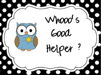 Owl Themed Classroom Jobs:
