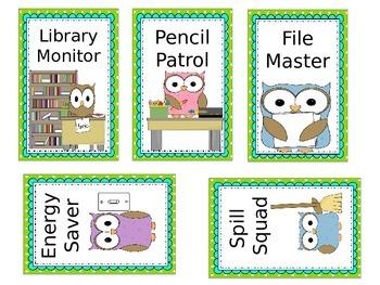 Owl Themed Classroom Jobs *Blue & Green*- Editable!