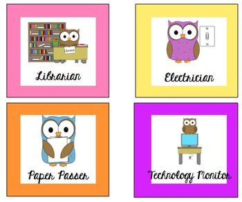 Owl Themed Classroom Jobs - Editable