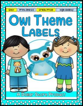 Owl Themed Classroom Labels - EDITABLE