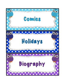 Library Labels {owl themed}