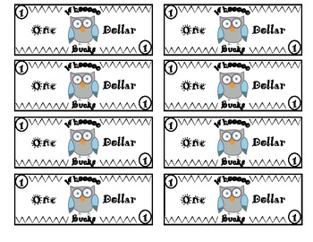 Owl themed classroom money system rules by inspired by for Classroom bucks template