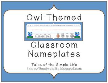 Owl Themed Classroom Nameplates
