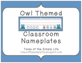 Owl Themed Classroom Nameplates