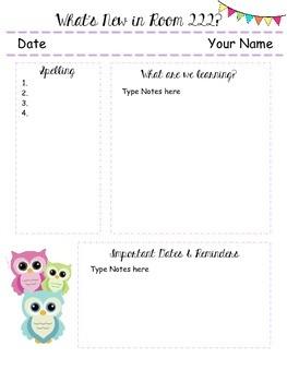 Owl Themed Classroom Newletter - Editable