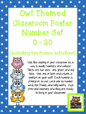 Owl Themed Classroom Numbers Poster Set w/Ten Frames, Activities, & Flashcards
