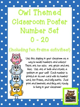 Owl Themed Classroom Numbers Poster Set w/Ten Frames, Acti