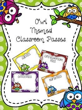 EDITABLE Owl Themed Classroom Passes