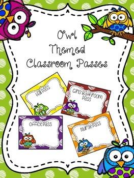EDITABLE Owl Themed Classroom Passes