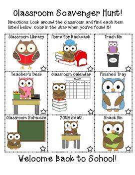 Owl Themed Classroom Scavenger Hunt! Back to School