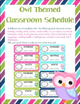 Owl Themed Classroom Schedule