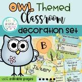 Classroom Theme Decor Bundle: Owl Themed