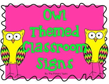 Owl Themed Classroom Signs and Labels