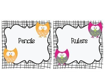 Black and White Owl Themed Classroom Supply Labels and Table Numbers