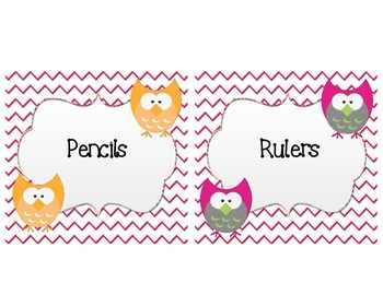 Chevron Owl Themed Classroom Supply Labels and Table Numbers